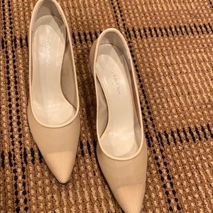 Pretty Calvin Klein mesh nude pumps. Gently worn.